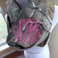 Monogrammed Camo Infinity Scarf