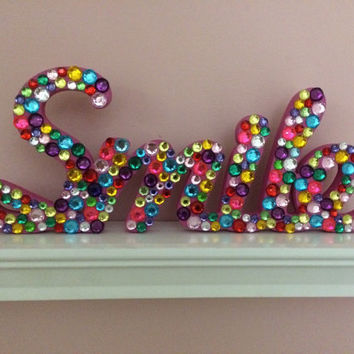 Rhinestone Wooden Smile Sign, wall and shelf decor