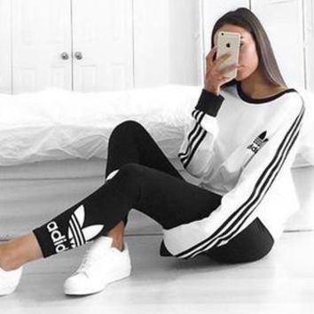 Adidas Women Fashion Top Sweater Pullover Sweatshirt Stretch Leggings Sweatpants