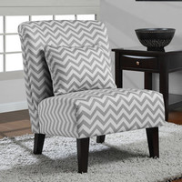 Anna Grey/ White Chevron Accent Chair | Overstock.com