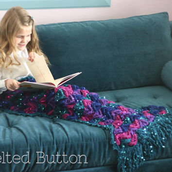 Crochet Pattern, Mermaid Me Blanket, Girl, Toddler, Child