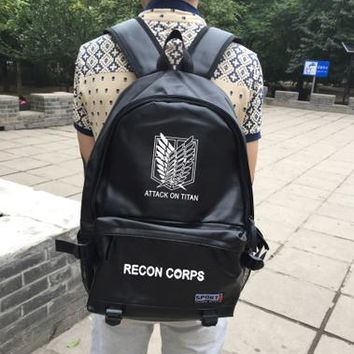 Japanese Anime Bag  Attack on Titan Cosplay Male and female students Korean couples leisure PU leather backpack child birthday gift AT_59_4