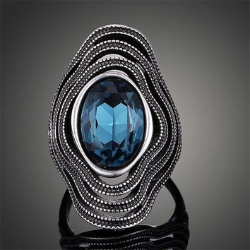 2017 classic retro ring Beautiful blue Vintage Antique Silver Bohemian Boho Rings for Women maxi Ring Anillos Bague Femme J02326