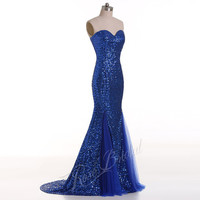 Blue mermaid long prom evening dresses with sequined sweetheart neckline under knee soft tulle  zipper back floor length for prom party