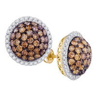 Brown Diamond Fashion Earrings in 10k Gold 3.02 ctw