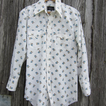 70s White Floral Cowboy Shirt, Men's M  // Mens Vintage Redneck Country Western Shirt
