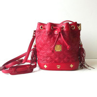 Vintage MCM Quilted Bucket Cross Body Bag