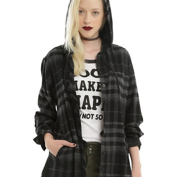 Black & Grey Plaid Hooded Girls Woven Button-Up