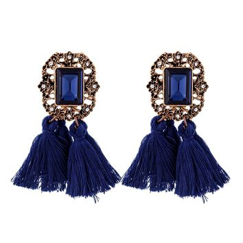 Beautiful Navy Blue Tassel Large Statement Vintage Look Beaded Dangle Earrings