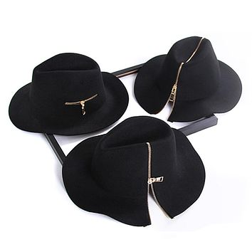 Womens black zipper style 100% Pure Cashmere Wool Fedoras Solid Hats ladies Vintage winter warm wooly Felt Floppy Hat for men