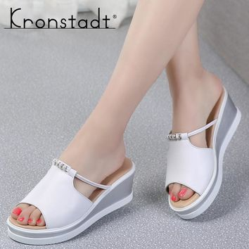Kronstadt Women Slipper Sandals Heels Wedges Platform Peep toe Crystal Elegant Female