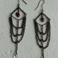 Long Earrings with Granate Stone+Rock Crystal+Black Chains+Brass! ~Exoskeleton Heart~ Heart Goth Romantic Earrings in Black+Burgundy+Gray!