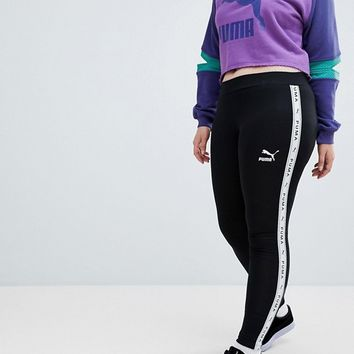 Puma Exclusive To ASOS Plus Taped Side Stripe Leggings In Black at asos.com