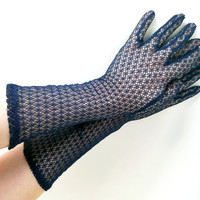 Vintage Mesh Gloves Navy Blue Gloves Long Gloves Navy Gloves Blue Gloves Vintage Gloves Stretchy Sheer Gloves Womens Gloves Party Gloves