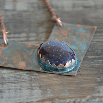 chevron necklace blue pendant goldstone necklace boho jewelry geometric necklace statement copper necklace patina jewelry gift women