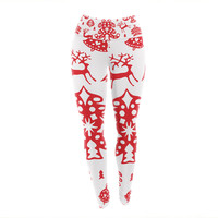 "Miranda Mol ""Frosted Landscape White"" Red Holiday Yoga Leggings"