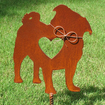 Pug Dog Metal Garden Stake - Metal Yard Art - Metal Garden Art - Pet Memorial 2