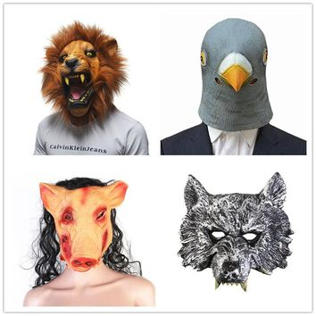 New Halloween Party Cosplay Animal Mask Latex Wolf Pig Pigeon Lion Mask Disguises Of Rabbits Face Head Mask