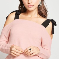 Self-Tie Open-Shoulder Sweater
