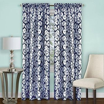 Ben&Jonah Collection Batik Window Curtain Panel - 52x84 - Navy
