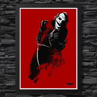 Dark Knight Joker Red Poster / Print High Quality 225gr Coated Paper (Special Design)