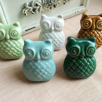 Ceramic Owl Handle/Cabinet/Cupboard/Drawer Knobs; 8 Pc. Set