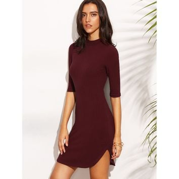 Dolphin Hem Fitted Ribbed Dress Burgundy