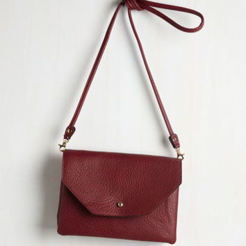 Minimal Set Out in Style Bag in Burgundy by ModCloth