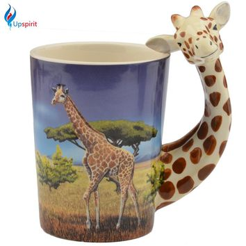Upspirit Practical Ceramic Mug Giraffe Pattern Creative Giraffe Long Neck Handle Beer Coffee Milk Drinking Cup Porcelain Gifts