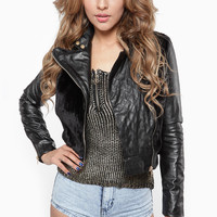 Black All Cozied Up Leatherette Moto Jacket