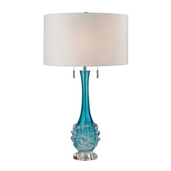 Vignola Free Blown Glass Table Lamp in Blue Blue