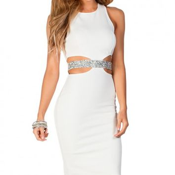 Evan White and Silver Rhinestone Embellished Sleeveless Cut Out Cocktail Dress