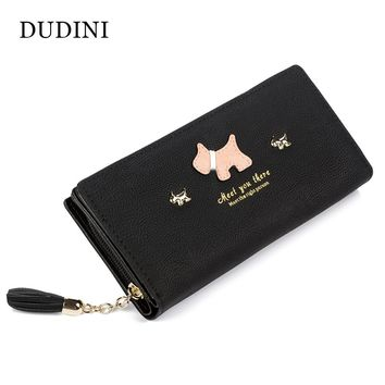 DUDINI Fashion Women Wallet Qute Dog Cartoon Tassels Scrub Ladies Wallet Splice Zipper Purse Clutch Cion Pocket Card Holder