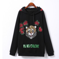 """Gucci""  Women Fashion flower rose  Letter Tiger Head Embroidery Long Sleeve Loose Hooded Sweater Pullover Tops"