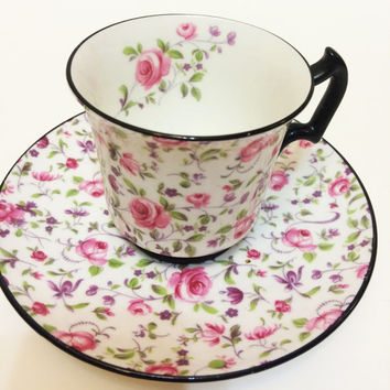Royal Chelsea Tea Cup, Chintz, Pink Roses, Black Rims, English Tea Cup, Bone China, 1950s