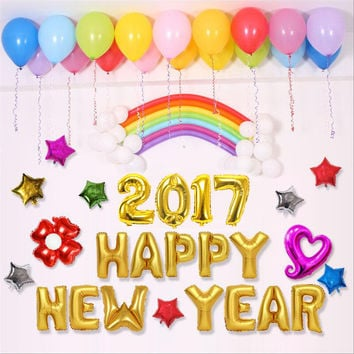 12pcs/Set Party Balloons Decorations HAPPY NEW YEAR Balloon Letters Aluminum Foil Balloons New Year Baby Alphabet