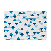 "Project M ""Triangles Blue"" Navy White Memory Foam Bath Mat"
