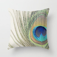 Peacock Feather No.2 Throw Pillow by Kimberly Blok | Society6