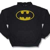 Batman CLASSIC LOGO Adult Black Hoody Sweatshirt, XL