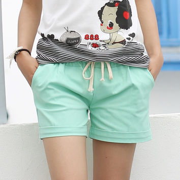 2016 Summer Style Shorts Women Candy Color Elastic With Belt Sport Short Women  A224