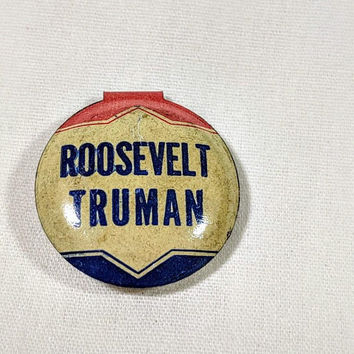 Roosevelt Truman Lapel Pin Metal Presidential Election Campaign Promotion Fold Over Tab Pin Union Labels & Logos Bastian Bros.Markers Marks