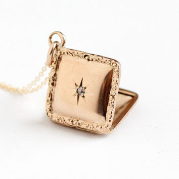 Antique 10k Rosy Yellow Gold Diamond Locket Necklace - Vintage Early 1900s Edwardian Star Double Sided Masonic Fraternal Fine Jewelry