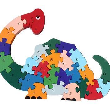 Funny Digital & Letter Wooden Blocks Puzzles Educational Puzzle Cute Dinosaur