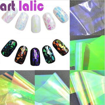 ICIKHY9 5 Sheets 3D Holographic Broken Glass Foils Finger Nail Art Mirror Stickers Glitter Stencil Decal DIY Manicure Design Tools