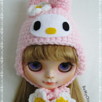Blythe Pullip Dal Doll Outfit Dress Cloth - Super Cute My Melody knit Hat Helmet