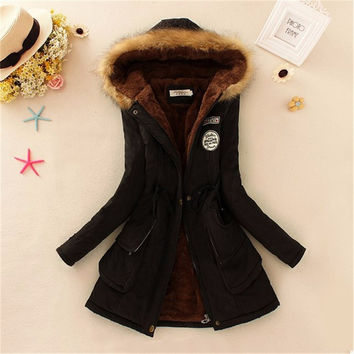 Women Coat  Winter Parka Casual Outwear Military Hooded Coat Winter Jacket Women Padded Coats Woman Clothes FZ037