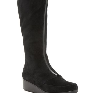 Cole Haan Women's Black Suede Tall Waterproof Wedge Boots
