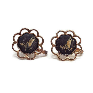 Vintage Screw Back Earrings Antiqued Brass Black Damascene Etched Scenic Design Mid Century