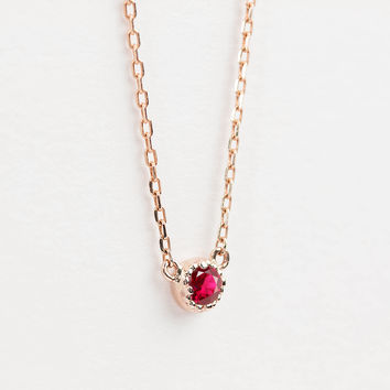 14k Yellow Rose White solid gold tiny Ruby necklace, Tiny ruby necklace, 2mm small ruby necklace, Round genuine ruby, Ruby jewelry dal-n101