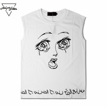 Fashion Print Unisex Tank Top Funny Expression Casual Sleeveless Men Bodybuilding Clothes Loose Sweat Vest
